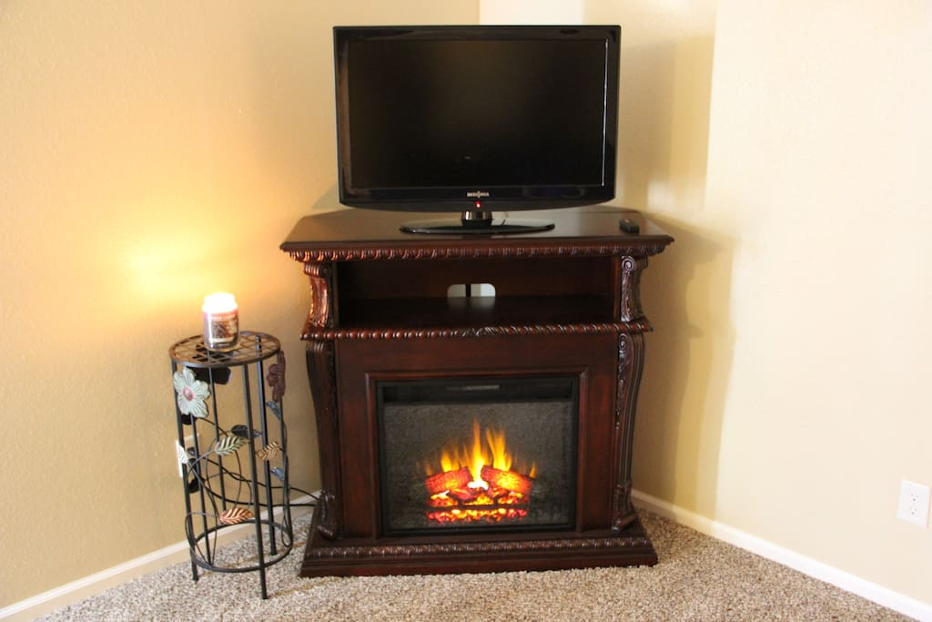 Warm up by the cozy fireplace with full HD Comcast Cable including all premium channels.