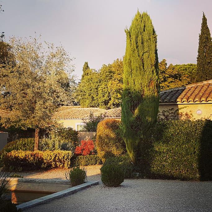 Jardin arboré dans un havre de paix.