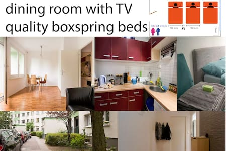 2 simple beds for you + living room, TV, breakfast - Berlim