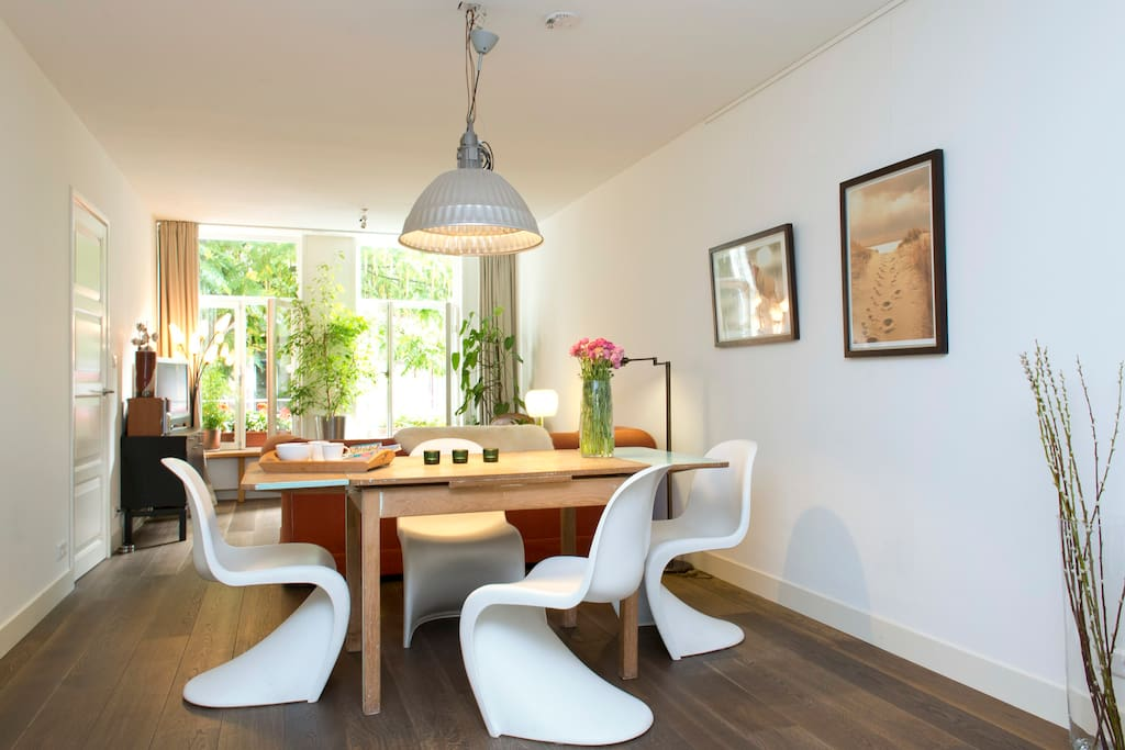Panton chairs by Vitra and 50's oak plywood table