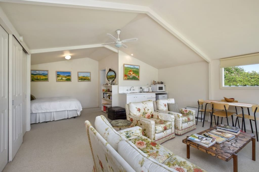 The open plan cottage is perfect for a relaxing getaway.