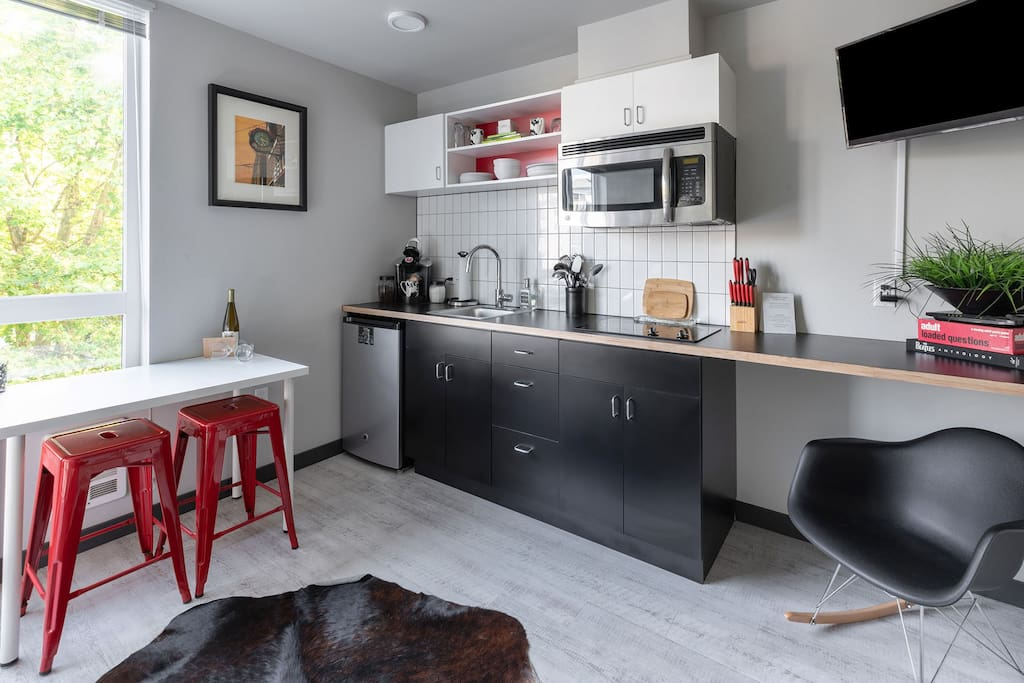 Efficiency Kitchen and Dining Area for 2 is perfect size for cooking and eating!