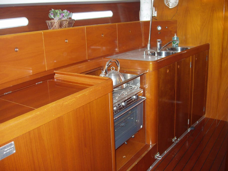 rosewood and marble galley