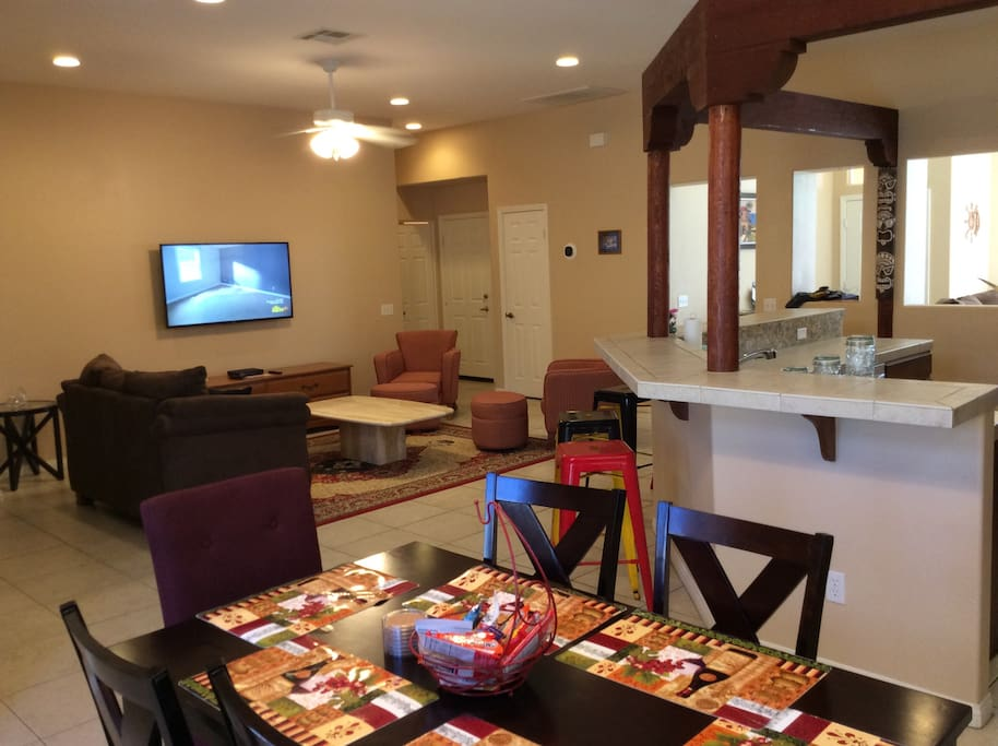 Spacious open living area with dining for six and a Cantina style kitchen