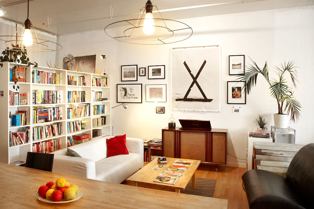 Living area with art & books