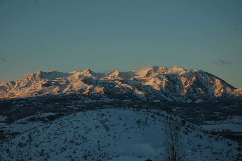 Your morning view of SNOWBASIN... from the back deck and picture window!
