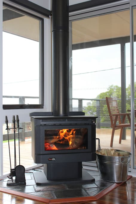 Esay to use wood stove with fan great for those chilly movie nights.