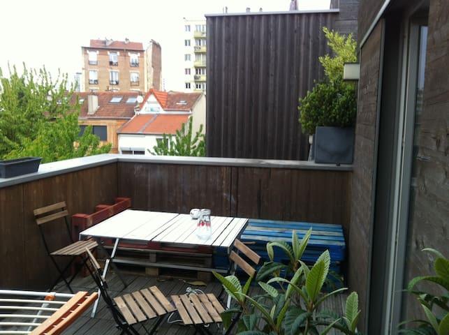 Chambre privée dans appartement verdoyant de 70m2 - Romainville - Квартира