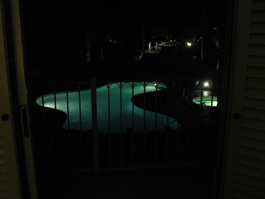 The Pool View Continues at Night -- Heated Pool and Hot Tub