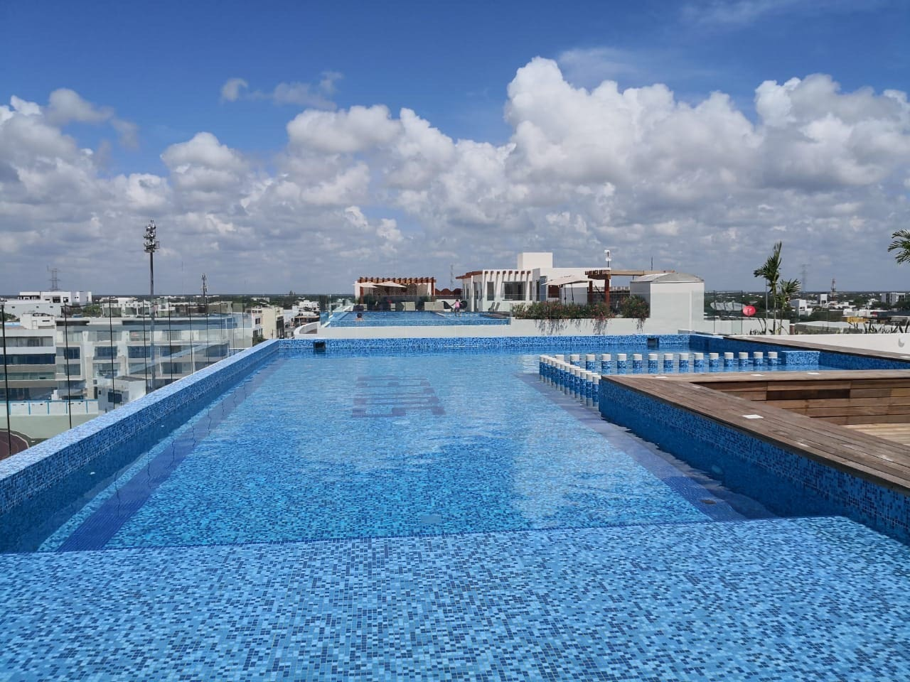 Beautiful rooftop pool with views of Cozumel