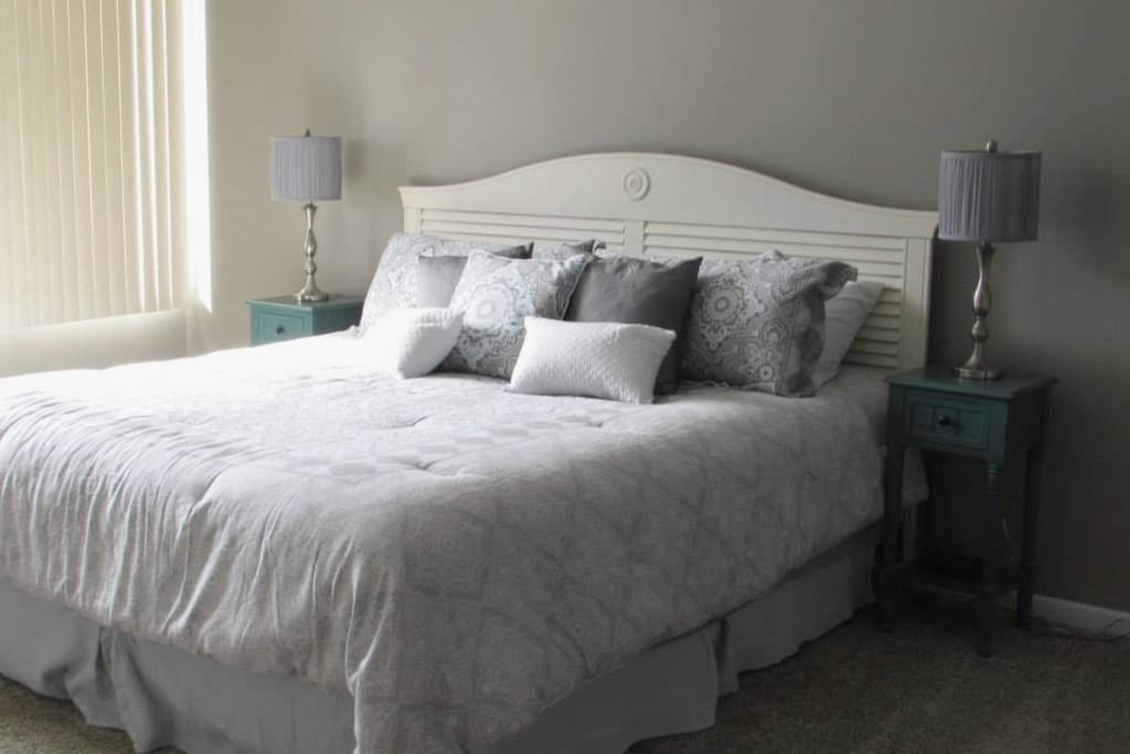 Sunny Master Bedroom with King Bed