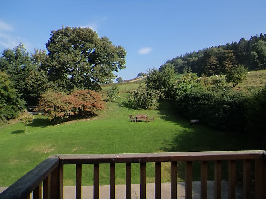View from the balcony over the grounds.