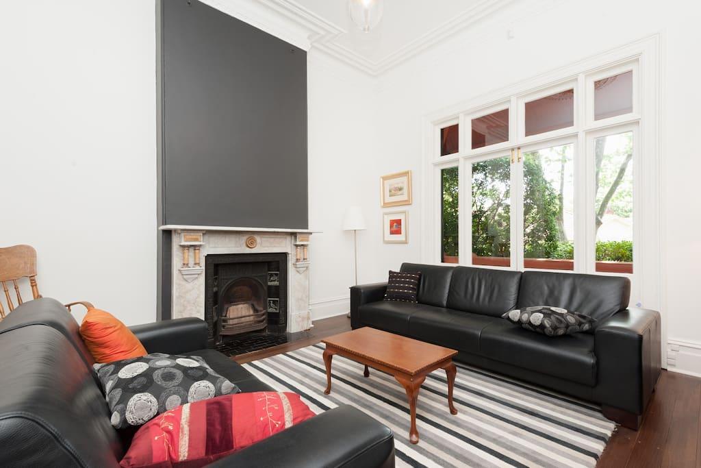 Formal living room, High ceilings.