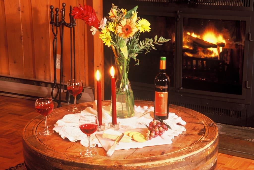 Levons nos verres pour ce beau feu de foyer!!! / Raise your glasses for this beautiful fire.