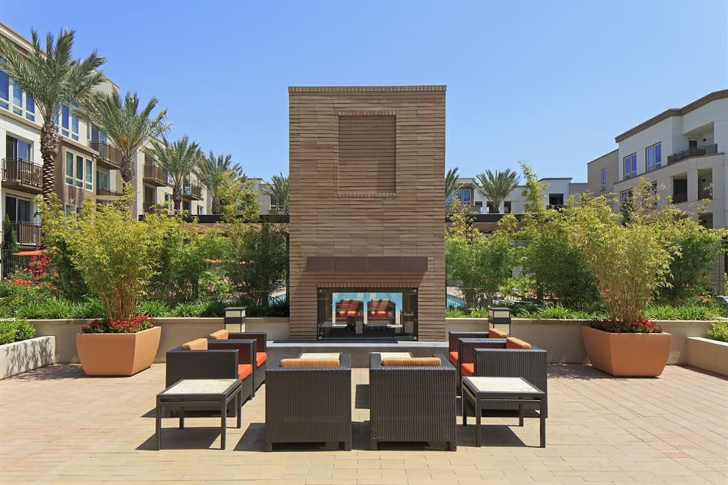 Patio fire pit areas in common area