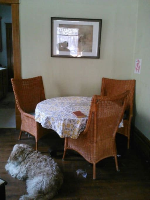 Pleasant dining area easily seats 3.