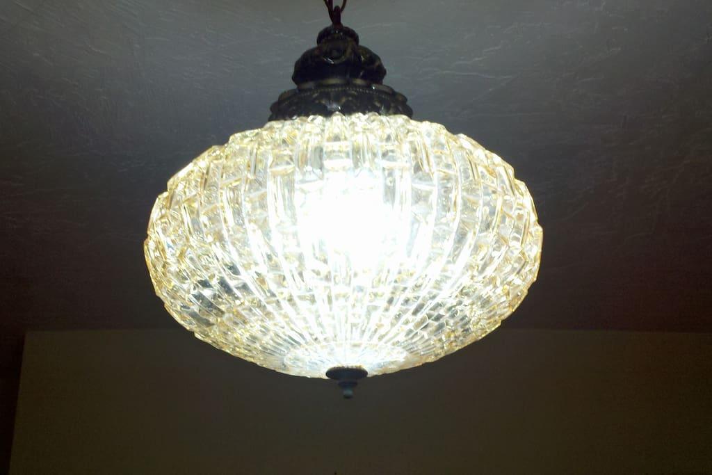 Bedroom's vintage light fixture