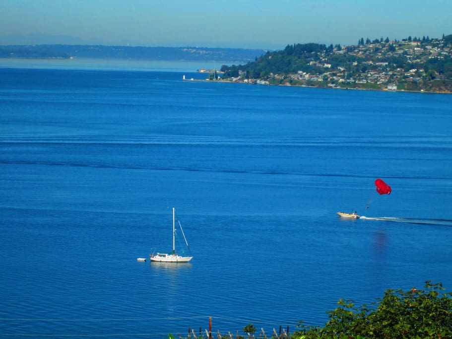 Try parasailing over the bay.....you won't get wet.