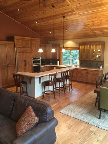 Gourmet kitchen and open layout