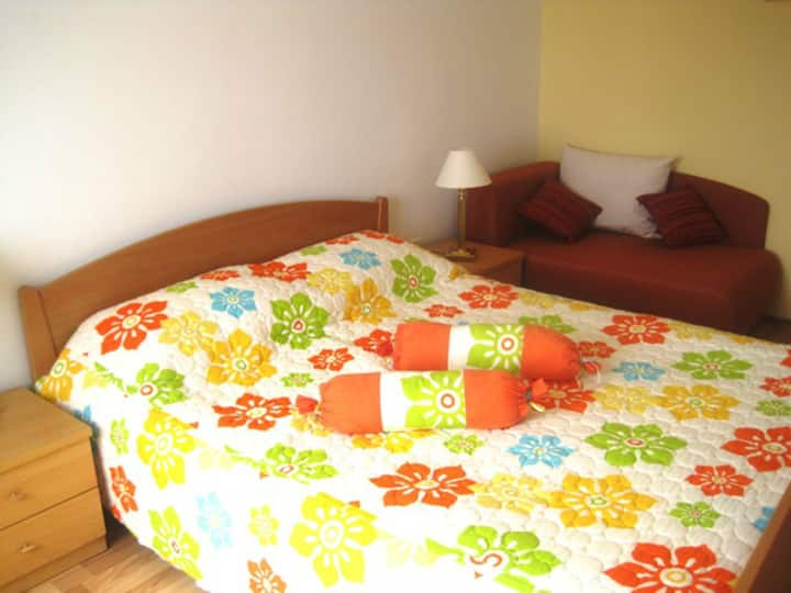 Room with terrace 1.2 km from beach