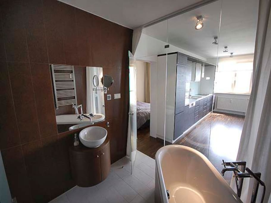 Bathroom with bathtub and shower cabin