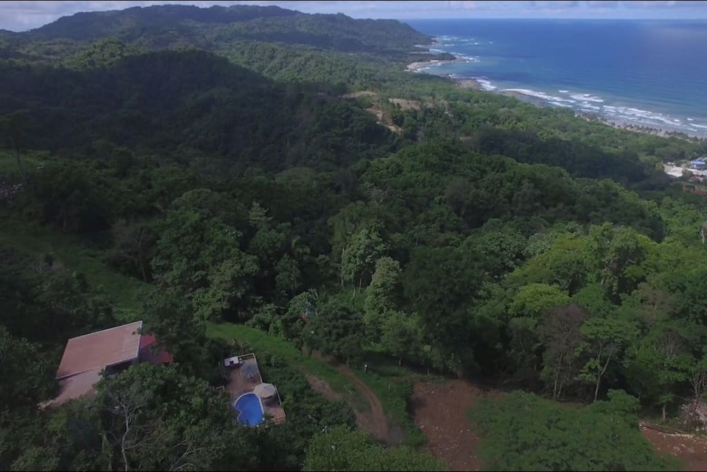 Aerial view of the property showing the amazing view and privacy of the villas!
