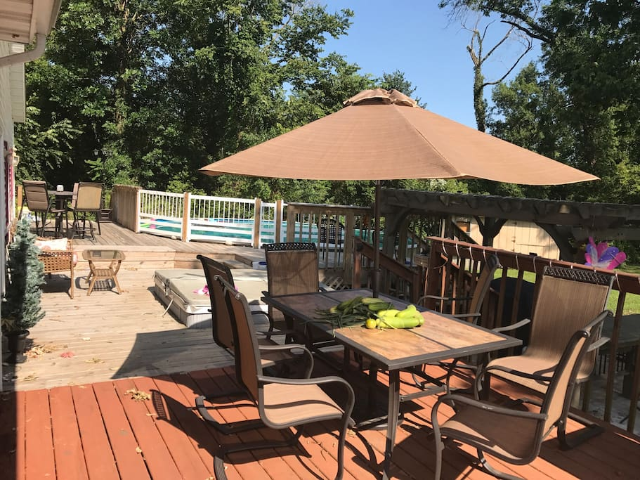 Pic of deck, with pool, pergola, and hot tub...