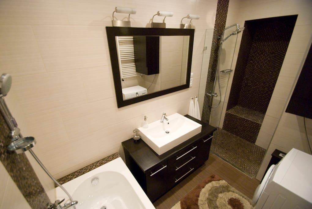 The modern bathroom with a shower and a bathtube
