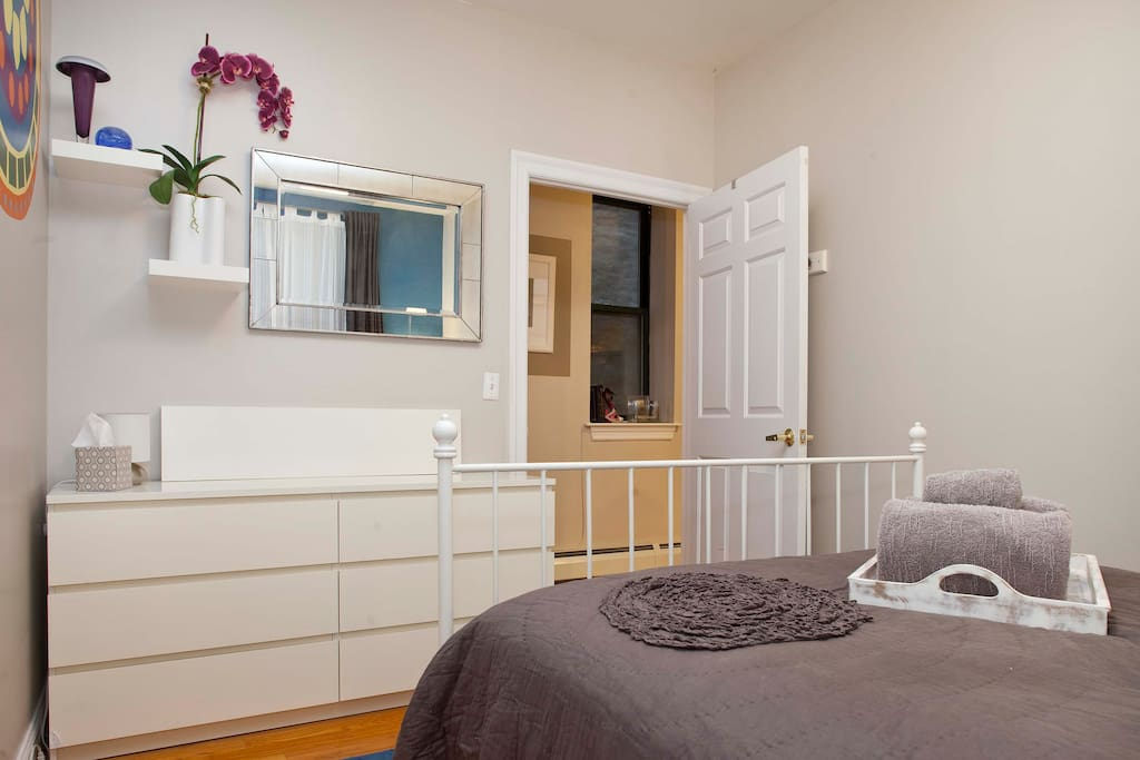 You will have full use of the dresser so that you can unpack your bags, and feel at home! Also note that there are hooks behind the door to hang your towels, bags, and jackets.