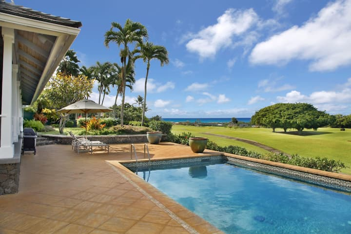 Fairway front, Private home, Pool, Lanai, Open air, Island luxury, Milo Hae Hale