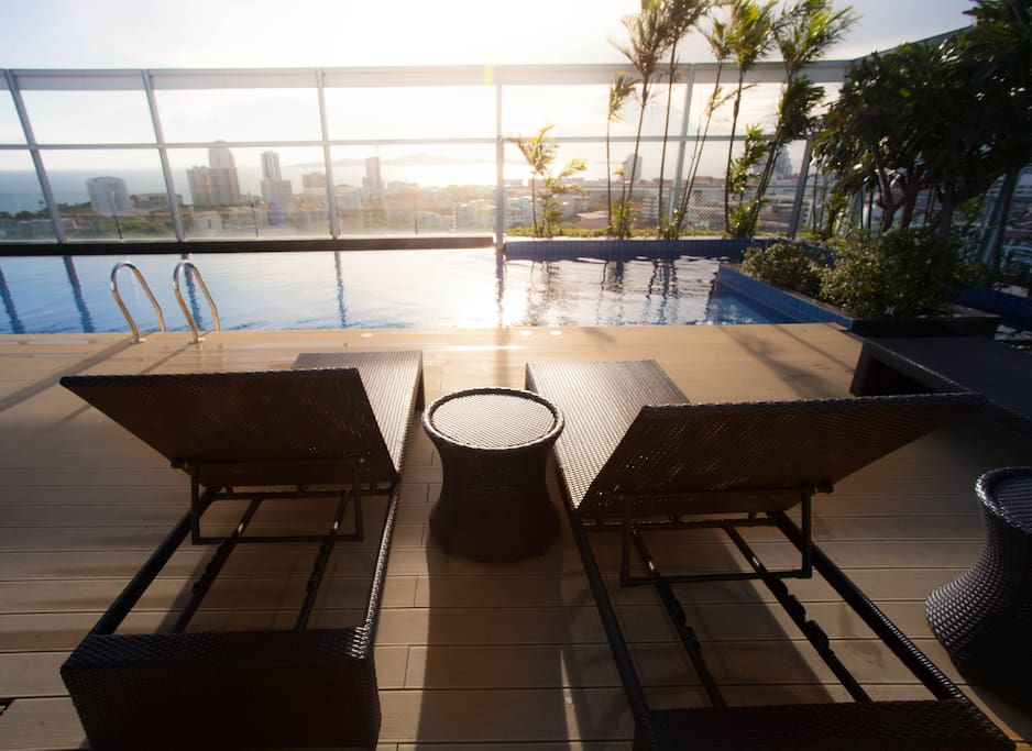 Rooftop swimming pool sea view