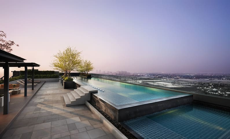 Sky view pool at Roof Top,26th FL.From this view you can see MEGA BangNa & IKEA BangNa store in Nighttime with Beautiful Lighting Decoration.