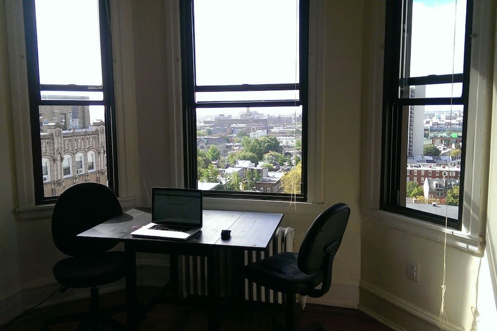 closer view of the bay windows- overlooking the nicest and most cental area of Philadelphia. Southern exposure so there is light all day long.