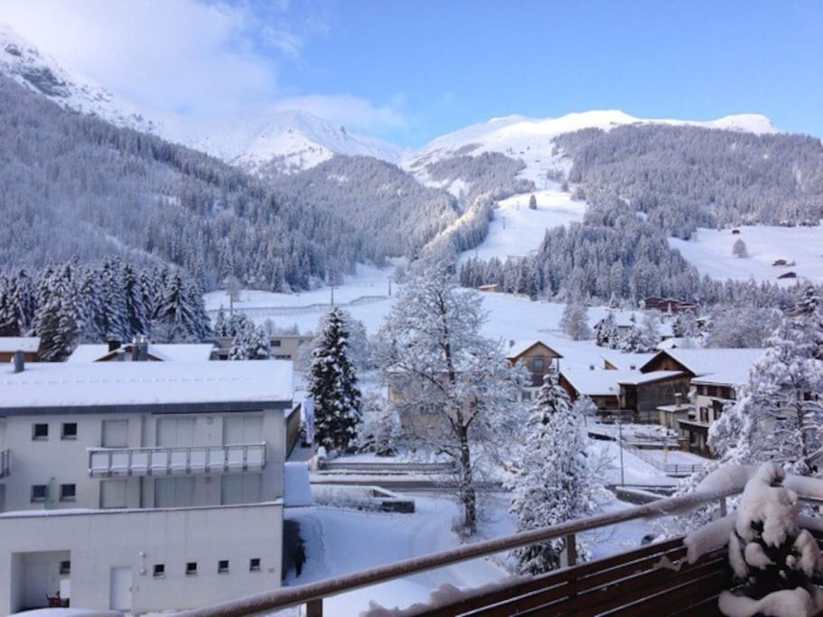 view from the apartment on one of the slopes and Alpine slide