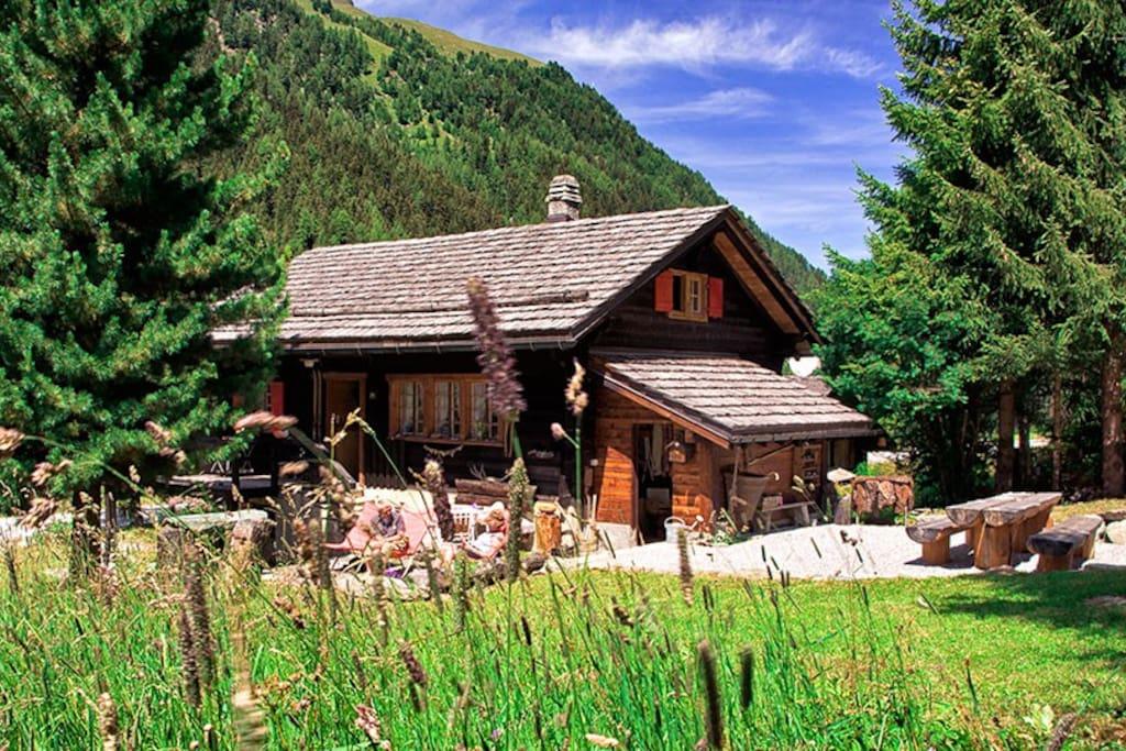 De zomerse alpenweide met ruim terras en familie tafel.