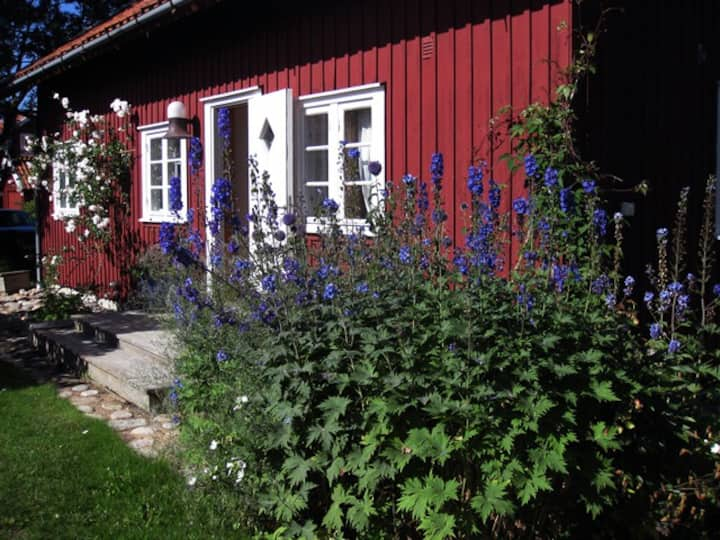 Summer house in lush garden close to the sea
