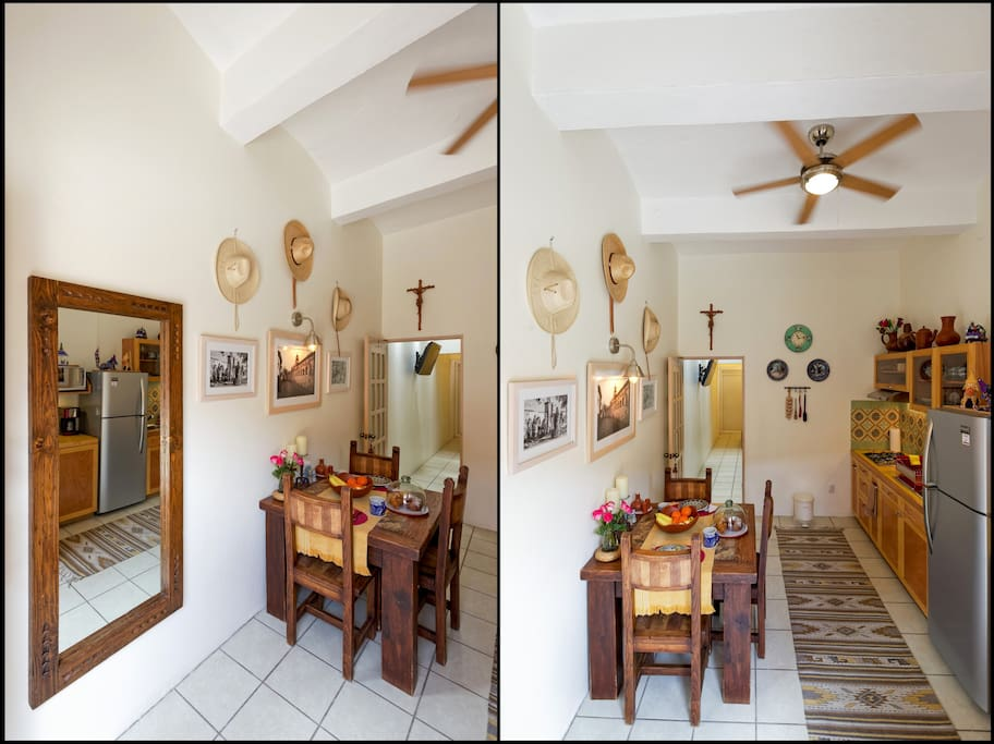 As you enter, you will find the kitchen and dining room.