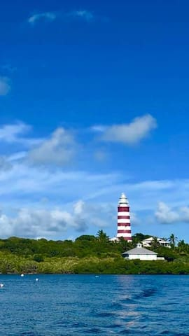 Beautiful Elbow Cay harbour  renowned for its candy striped lighthouse.