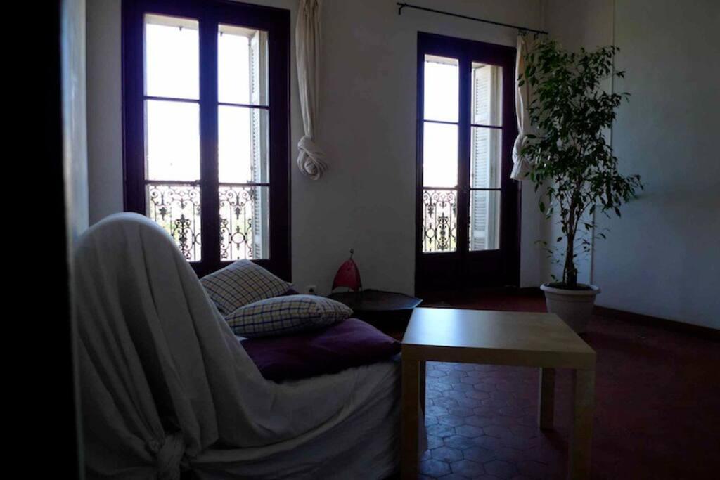 Séjour avec deux portes fenêtres sur une vue dégagée.