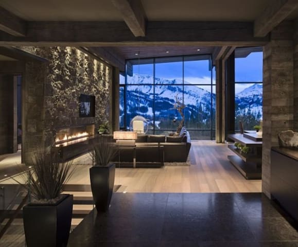 Aspen mountain view stone fireplace ultimate luxe