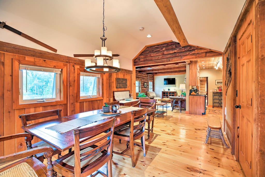 The rustic cabin boasts 1,100 square feet of comfortable living space.