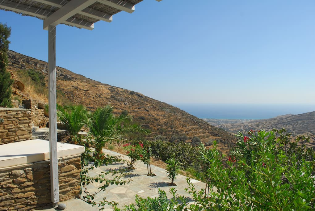 Private terrace and view of sea and valley