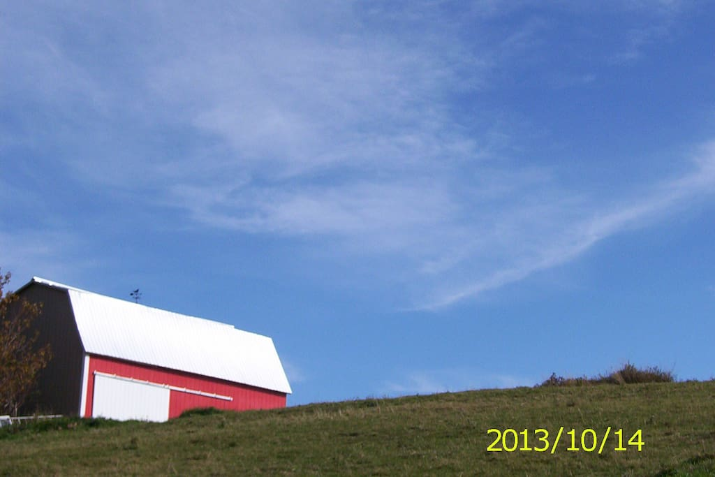 View of my barn on the way up.