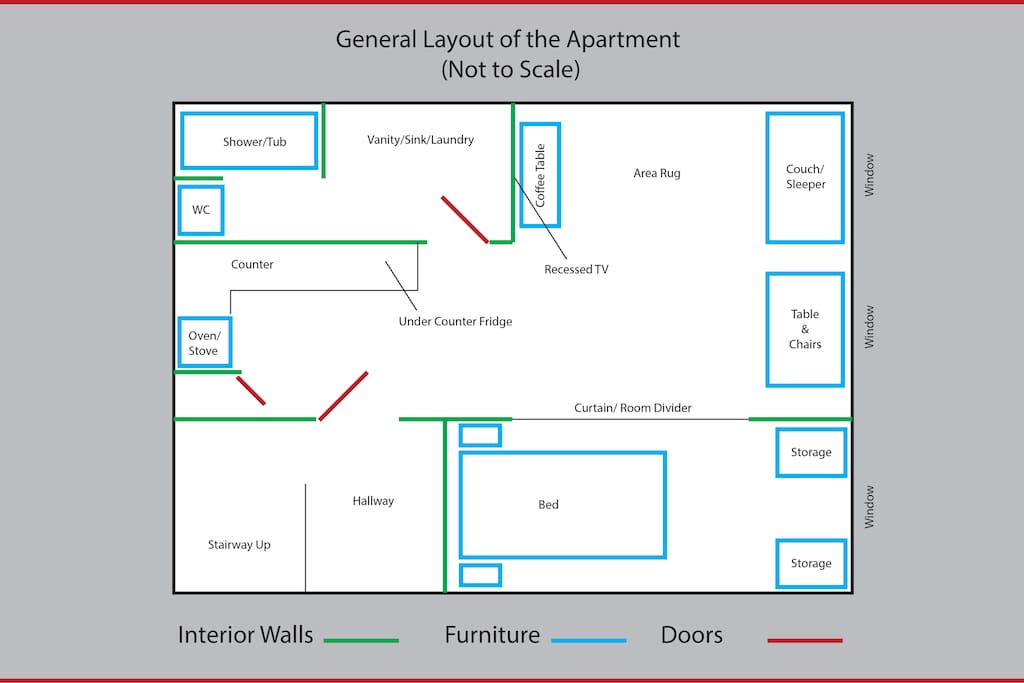 Floor Plan, pretty close to scale, see photos for more detail.