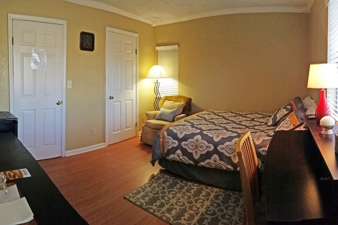 large, cozy bed and walk in closet!