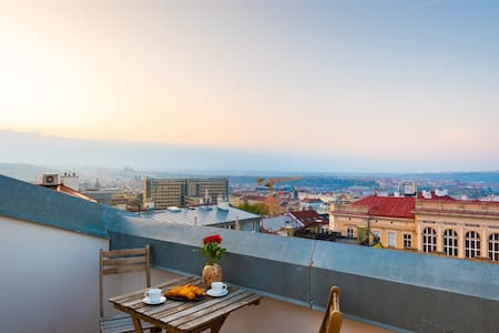 Rooftop studio *Old Prague view* terrace with A/C