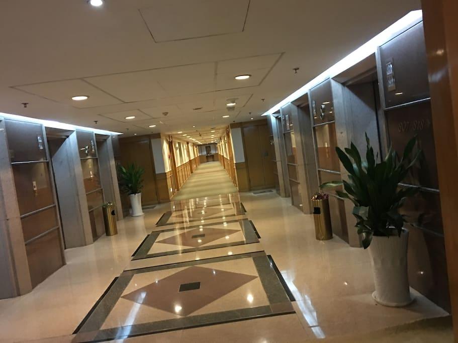五星级酒店设计的电梯口,相对现在的市中心来说,无比奢侈豪华