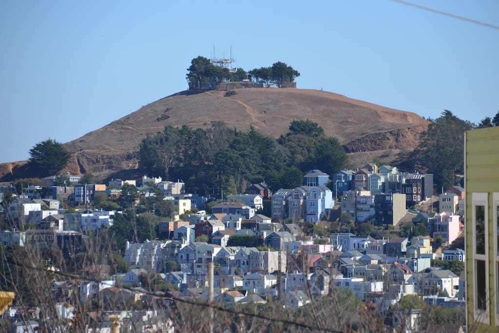 View from backyard of Bernal Heights. Views of downtown San Francisco just a 5 min. walk away!