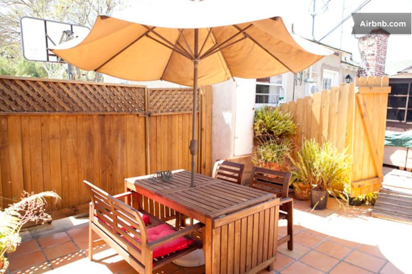 Our sunny patio. Private just for you.
