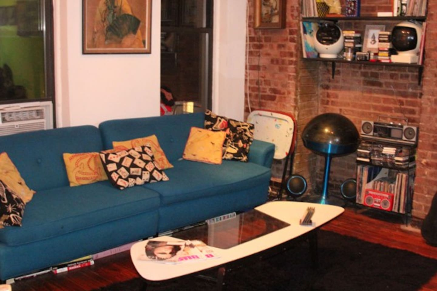 Great couch for a guest to sleep on or to lounge on while watching some cable TV on the large flat screen.